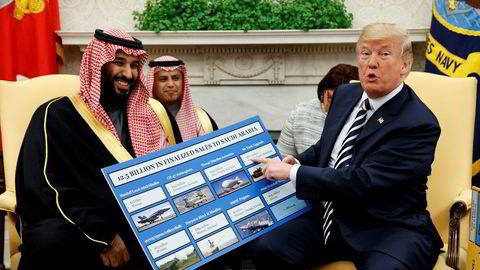 President Donald Trump under et møte med kronprins Mohammed bin Salman i Det hvite hus i mars 2018.