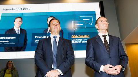 Konsernsjef i Aker Solutions Luis Araujo (til venstre) og finansdirektør Ole Martin Grimsrud fra fremleggingen av resultatet for tredje kvartal 2019.