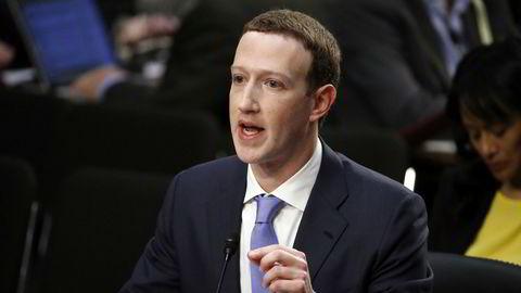 Facebooks konsernsjef Mark Zuckerberg under en høring i Washington tidligere i år.