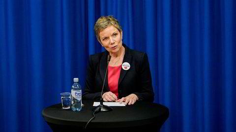 President i Den norske legeforening Marit Hermansen tar ut medlemmer i streik.