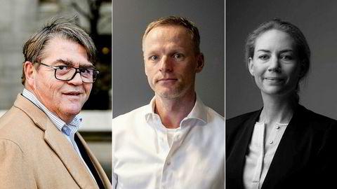 Flere kjendisinvestorer har slengt seg på Pexip-bølgen på børsen. Fra venstre er forvalter Jan Petter Sissener, investor Ketil Skorstad og Helene Sundt som er største eier i Sundt as.