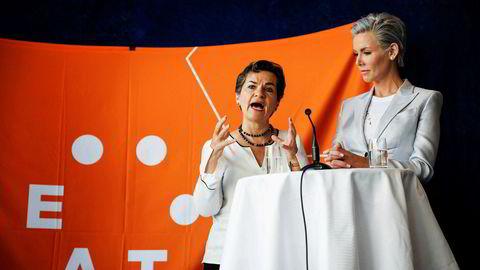 FNs klimasjef Christiana Figueres (tv) og Gunhild Stordalen på Eat Forum 2018.