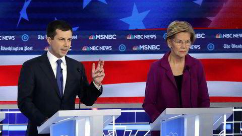 Pete Buttigiegs popularitet har steget de siste ukene. Meddebattant Elizabeth Warren er fortsatt en av favorittene til å bli Demokratenes presidentkandidat.
