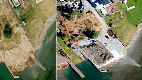 Flyfoto av Egil Stenshagens eiendom på Bygdøy før arbeidene i strandsonen (til venstre), og under arbeidene i strandsonen i 2016 (til høyre).