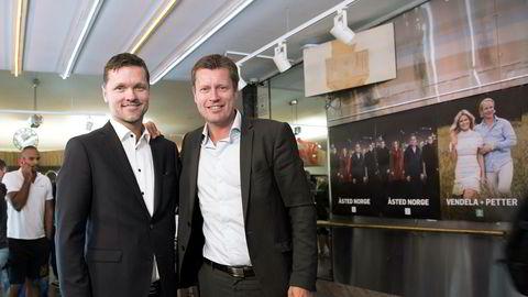Programdirektør Jarle Nakken (tv) og kanaldirektør Trygve Rønningen i TV 2 under tirsdagens høstlansering.