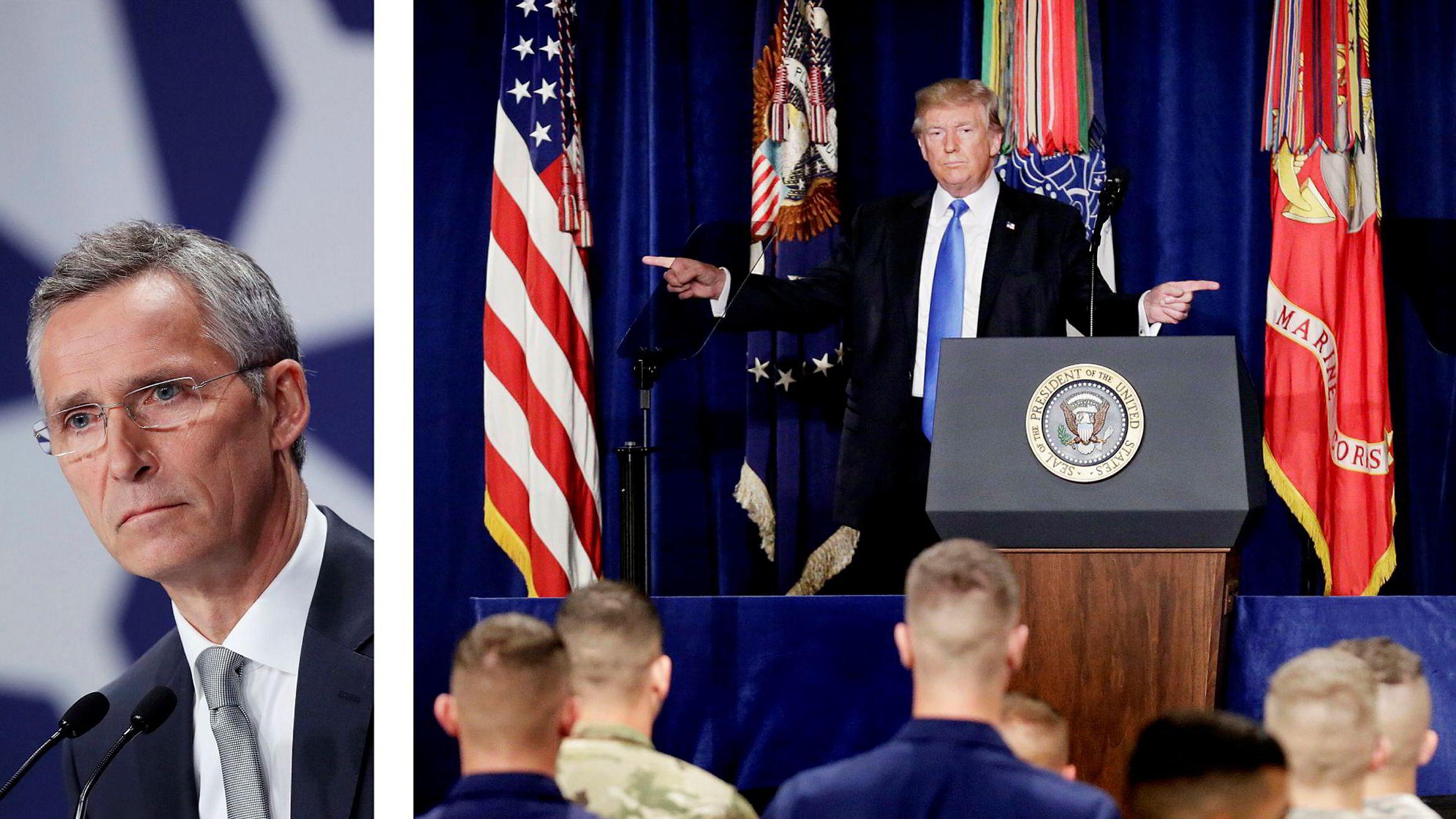 Natos generalsekretær Jens Stoltenberg (til venstre) er fornøyd med at President Donald Trump sender nye soldater til Afghanistan.
