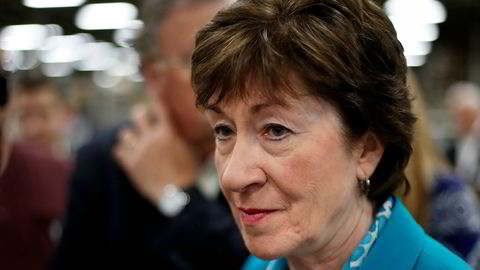 FILE- In this Aug. 17, 2017, file photo, Sen. Susan Collins, R-Maine, takes a question from a reporter while attending an event in Lewiston, Maine. The last-gasp Republican drive to tear down President Barack Obama's health care law essentially died Monday, Sept. 25, as Collins joined a small but decisive cluster of GOP senators in opposing the push. (AP Photo/Robert F. Bukaty, File)
