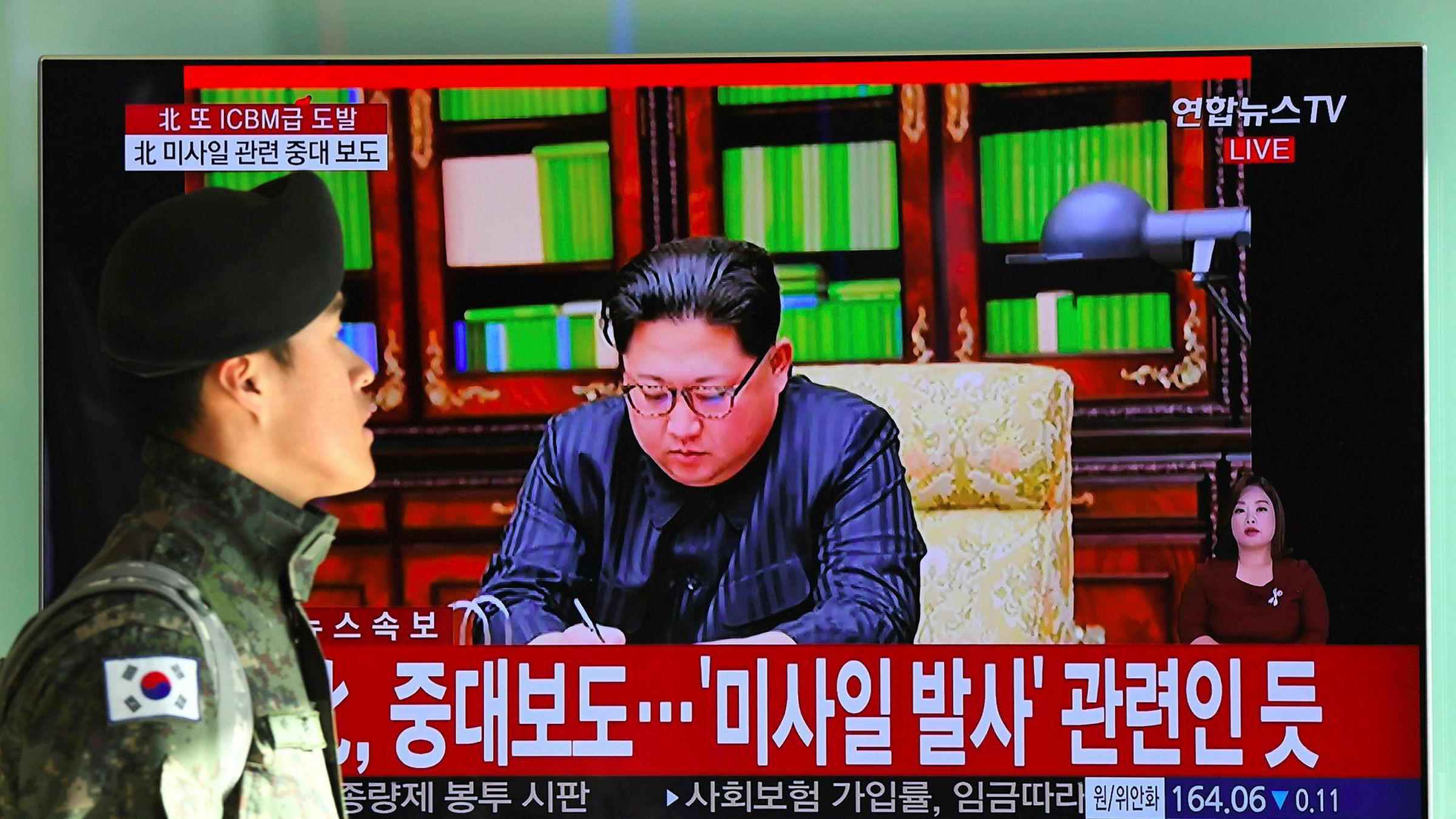 Nord-Koreas leder Kim Jong-un sier at tirsdagens test av en ny type interkontinental ballistisk missil, Hwasong-15, var vellykket, og at det kan nå hele USAs fastland.