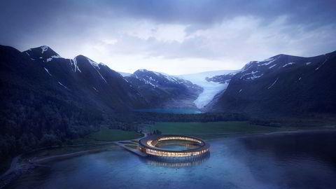 Ringvirkning. Ved Svartisen nasjonalpark har Snøhetta tegnet et sirkelformet hotell. Solcellepaneler på taket vil forsyne hotellet med all energi som behøves til drift – og mer til. Slik tenker Snøhetta seg at bygget vil se ut.