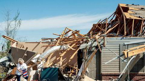 Tornadosesongen i USA er alt i gang. Her fra Harrisburg i Arkansas torsdag denne uken.