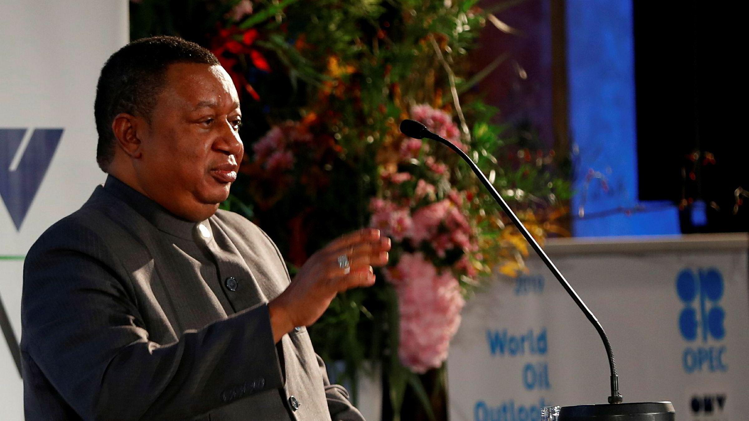 Opec-leder Mohammad Barkindo fra Nigeria holder tale på World Oil Outlook 2040.