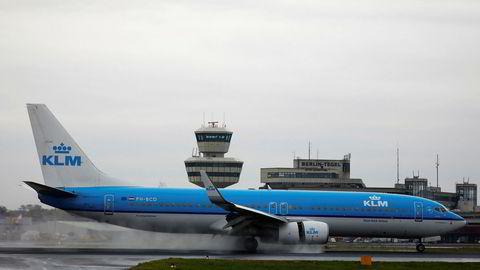 Avbildet er et Boeing-fly tilhørende det nederlandske flyselskapet KLM.