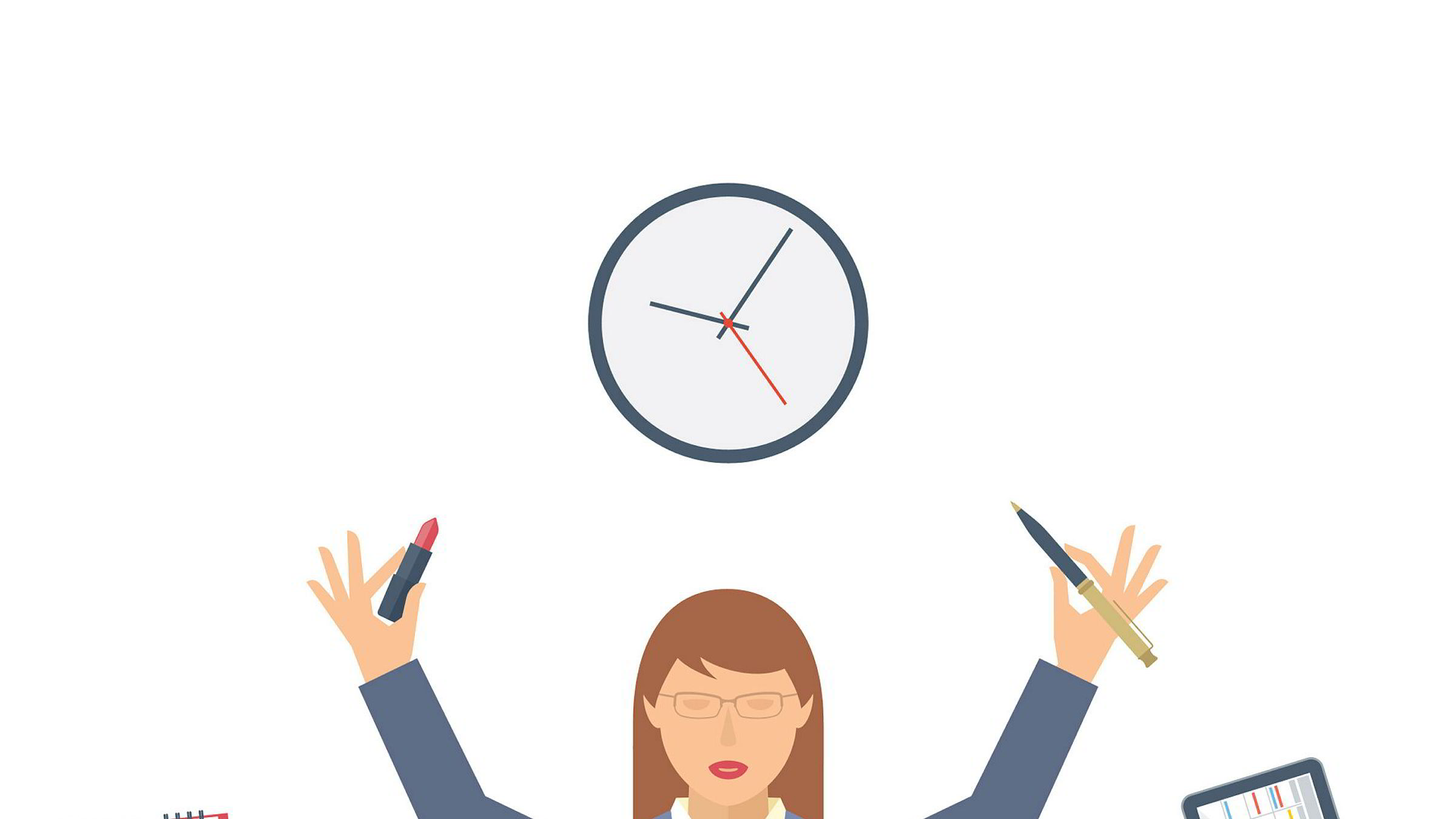 Business multitasking time management. Flat vector concept isolated illustration. Businesswoman at work meditates with calendar, schedule, timetable in the hands. Busy woman's office meditation.