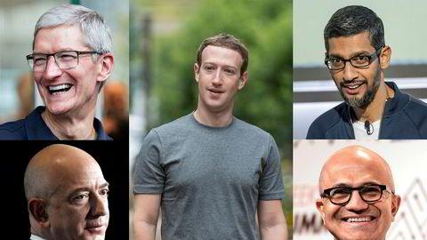 Disse fem: Tim Cook i Apple, Mark Zuckerberg i Facebook, Satya Nadella i Microsoft, Jeff Bezos i Amazon og Sundar Pichai i Google og Alphabet prises nå til fem ganger Oljefondet.