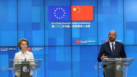 EU-kommisjonens president Ursula von der Leyen og EU-president Charles Michel under pressekonferansen etter det digitale toppmøtet med Kinas president Xi Jinping.