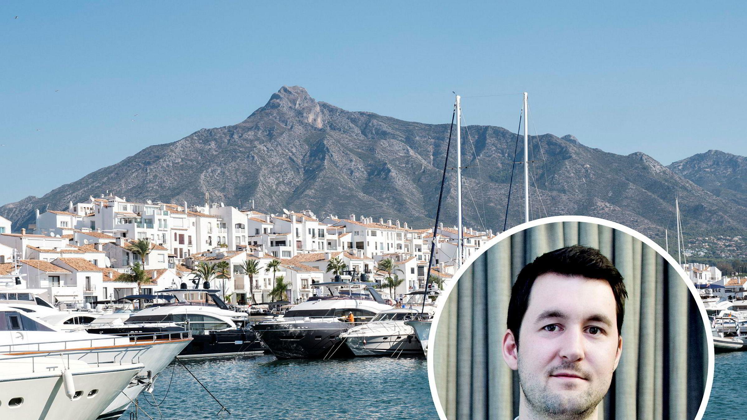 Analytiker Joachim Bernardsen i Nordea Markets (innfelt). Her havnen i Puerto Banus, Spania.