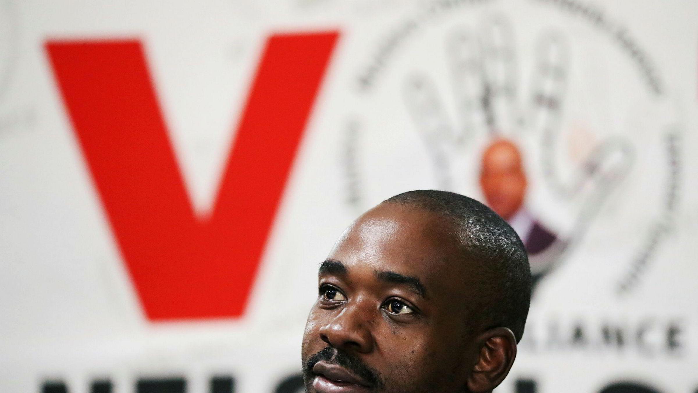 Nelson Chamisa fra partiet Opposition Movement for Democratic Change (MDC) er en av to som reelt har mulighet til å bli ny president i Zimbabwe.