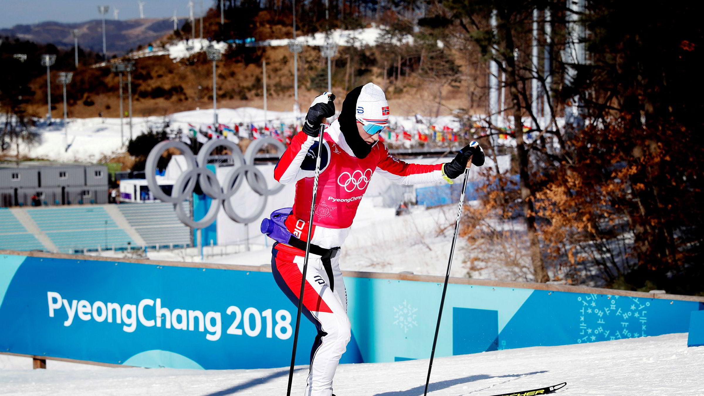 Marit Bjørgen under trening på langrennsstadion i Alpensia onsdag, der langrennsøvelsene arrangeres under OL i Pyeongchang. Landslagssjefen karakteriserer løypenettet som «ikke direkte krevende». Imidlertid har det vært svært kaldt i Sør-Korea de siste dagene.