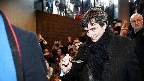 Carles Puigdemont stilte opp på en debatt i København mandag.