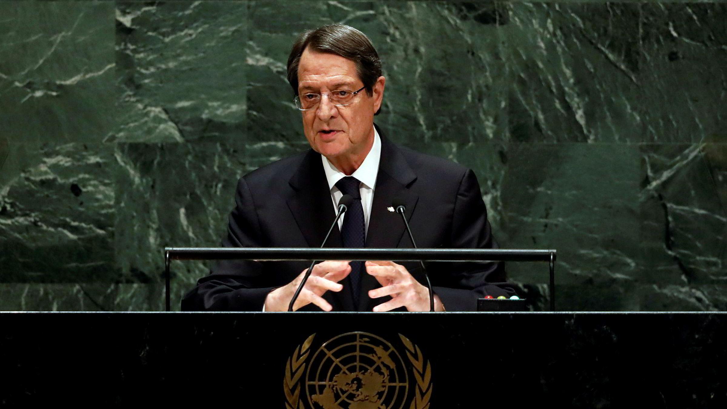 Kypros' president Nicos Anastasiades lover å trekke tilbake alle statsborgerskap som er gitt ut ved «en feiltakelse», etter at «golden passport»-ordningen ble satt under etterforskning forrige måned. Her avbildet fra FN-samling i september i år.