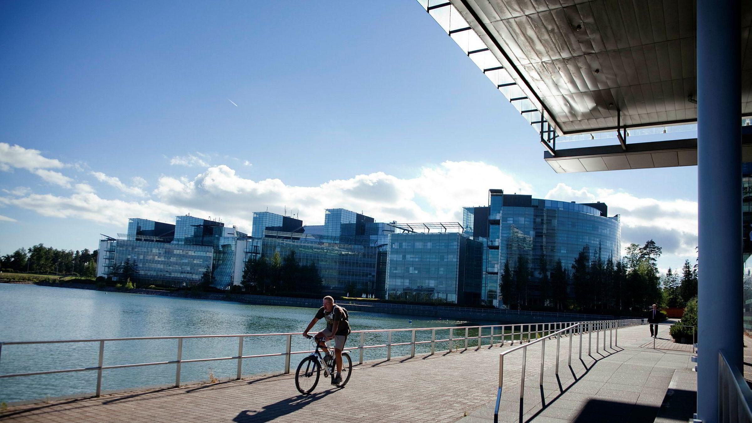 Finland er nå rangert som det mest lykkelige landet i verden. Bildet viser Nokia house, Nokias hovedkontor i Finland.