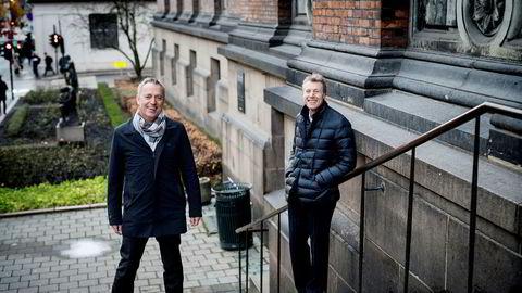 Amedia-sjef Are Stokstad (til venstre) og Aller Media-sjef Dag Sørsdahl vil møte konkurransen om annonsekronene fra amerikanske nettgiganter med å gå sammen om felles brukerplattform.