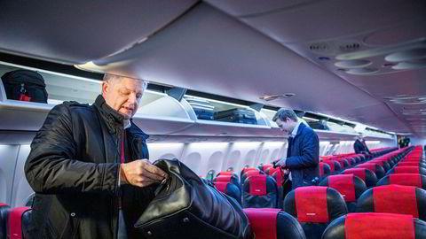 Norwegian-sjef Jacob Schram og resten av ledelsen jobber på spreng for å redde selskapet. Her fra en flytur til Bodø i februar i år.