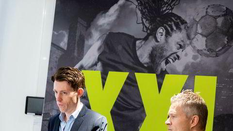 Konstituert konsernsjef Tolle Grøterud (t.v.) og finansdirektør Stein Eriksen i XXL møtte motstand fra Folketrygdfondet for den planlagte kapitalinnhentingen.