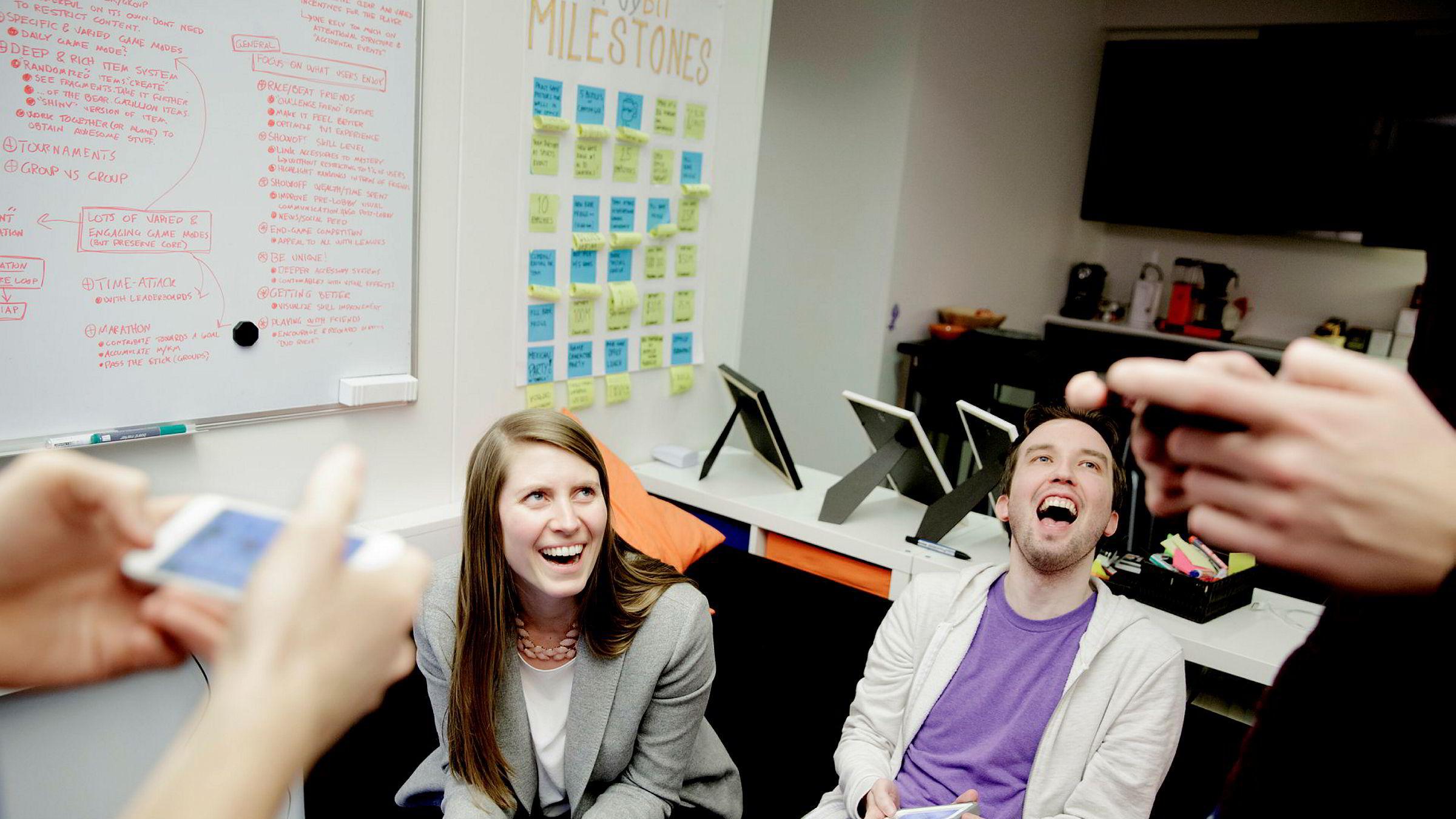 Aurora Klæboe Berg og kollegene i Megacool så potensial for å kunne hjelpe spillutviklere – etter selv å ha jobbet med spillet «Fun Run». Her med «Fun Run»-spilleren Martin.