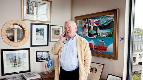 Herbjørn Hansson på kontoret til Nordic American Tankers i Sandefjord.