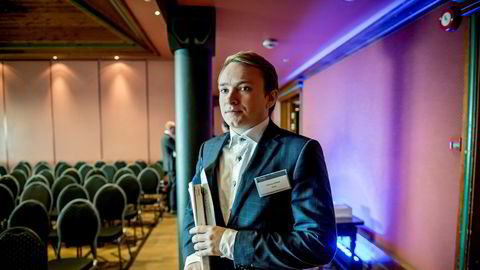 Aksjehandler Andreas Wold Hofstad fra Trondheim har tjent millioner hvert år de siste årene. Her fra en konferanse i Oslo i fjor.