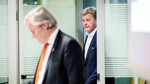 Norwegian-gründerne Bjørn Kjos (fra venstre) og Bjørn H. Kise har solgt seg gradvis ned i Norwegian. Men kursene stuper, må det inn penger for å betale en finansiell avtale hos Danske Bank.