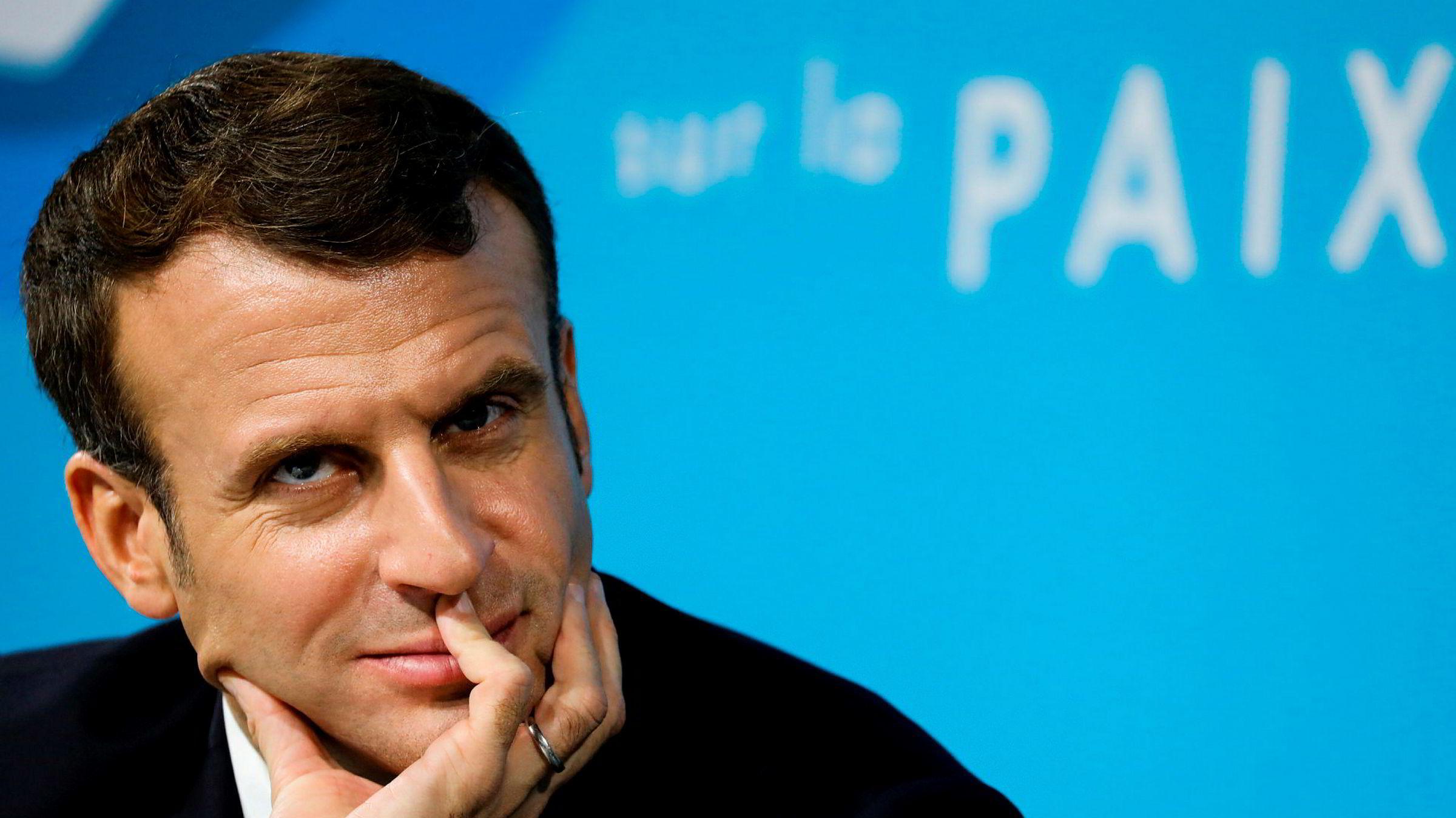 Frankrikes president Emmanuel Macron har helt rett i at Europa må ta mye mer ansvar for sin egen sikkerhet og sin rolle i verden, mener artikkelforfatteren. (Ludovic Marin/Pool via AP)