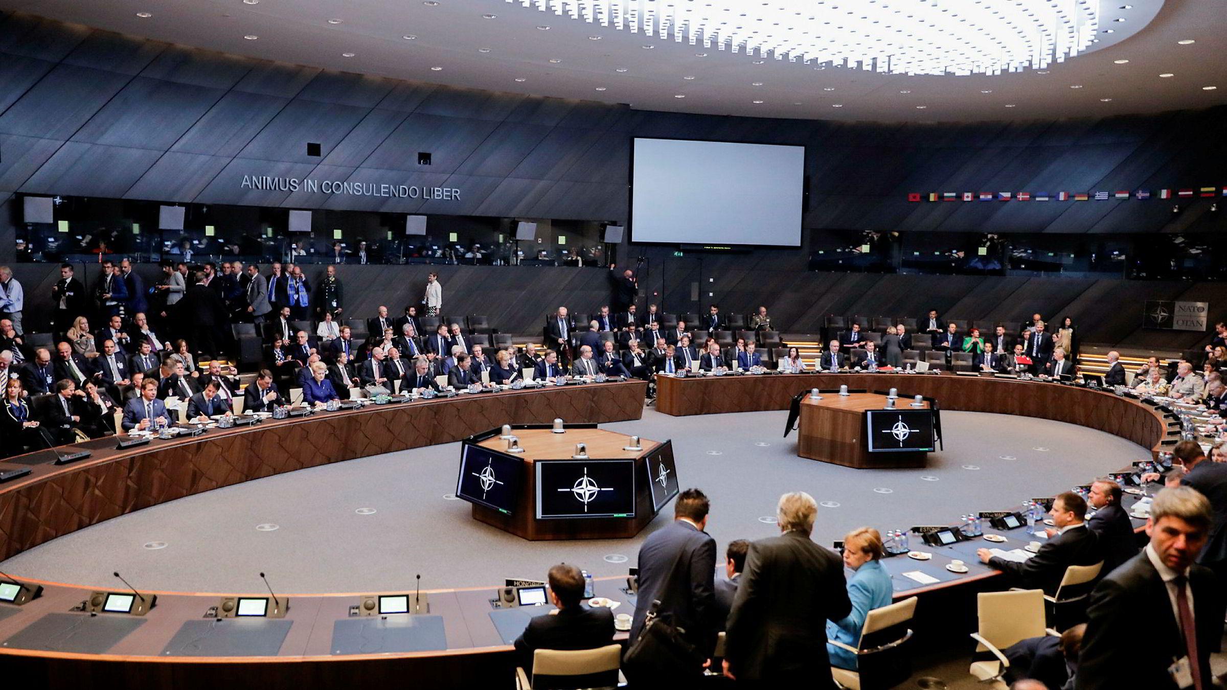Gullstandarden i Nato er troverdighet. Alliansens avskrekkende effekt avhenger av tillit til at allierte vil stå samlet og forsvarer hverandre, skriver artikkelforfatteren. Her fra NATO sitt hovedkvarter i Brussel, Belgia.