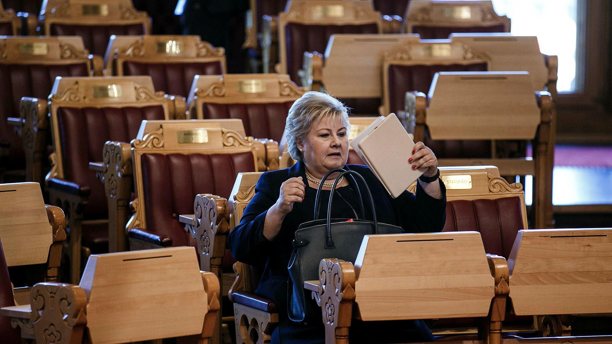 Statsminister pg partileder Erna Solberg kan glede seg over at Høyre nå er landets største parti.