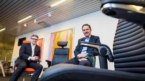 Finansdirektør Eirik Kronkvist (til venstre) og administrerende direktør Lars Røiri i kontormøbelkonsernet Flokk har sikret seg det polske milliardkonsernet Profim. På 14 måneder har Flokk mer enn firedoblet antall ansatte fra 600 til 2600.