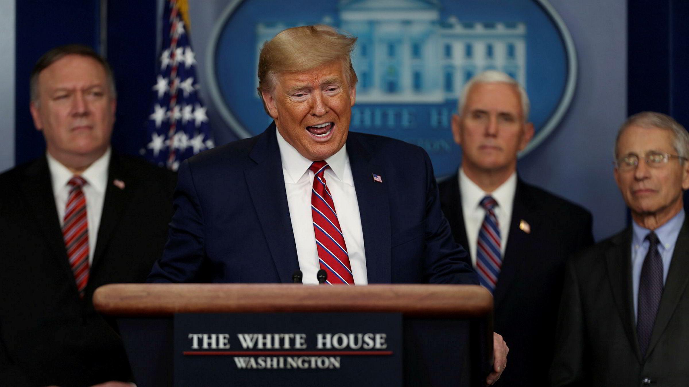 President Donald Trump skjelte ut en reporter under en pressekonferanse fredag kveld.