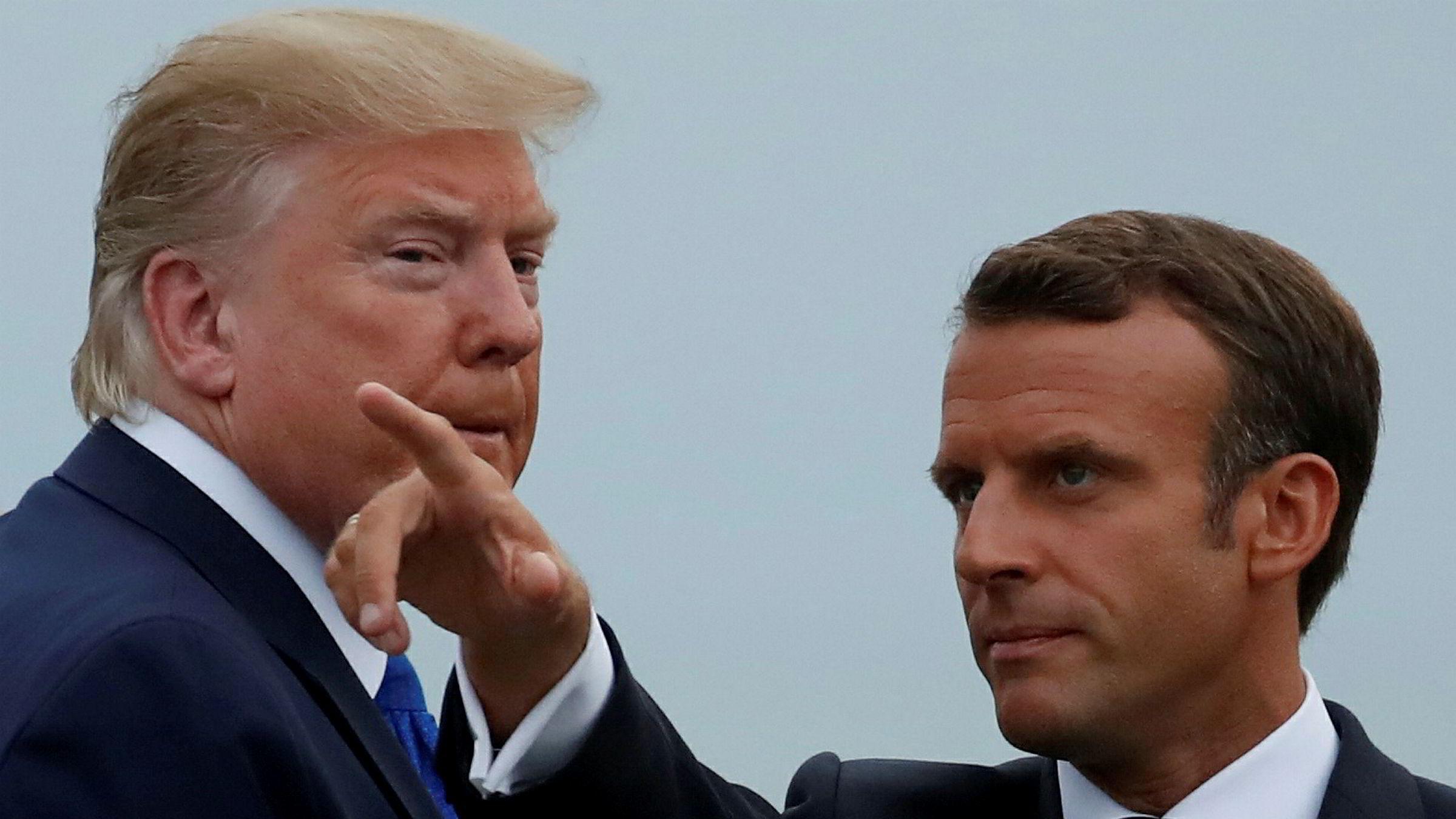 Frankrikes president Emmanuel Macron advarte president Donald Trump om at IS kan gjenoppstå. Bildet er fra da de møttes på G7-toppmøtet i august.