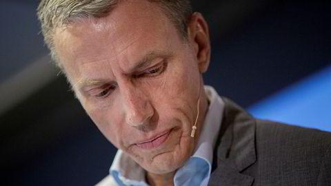 Rolv Erik Ryssdal, konsernsjef i Schibsted legger frem tall for andre kvartal.