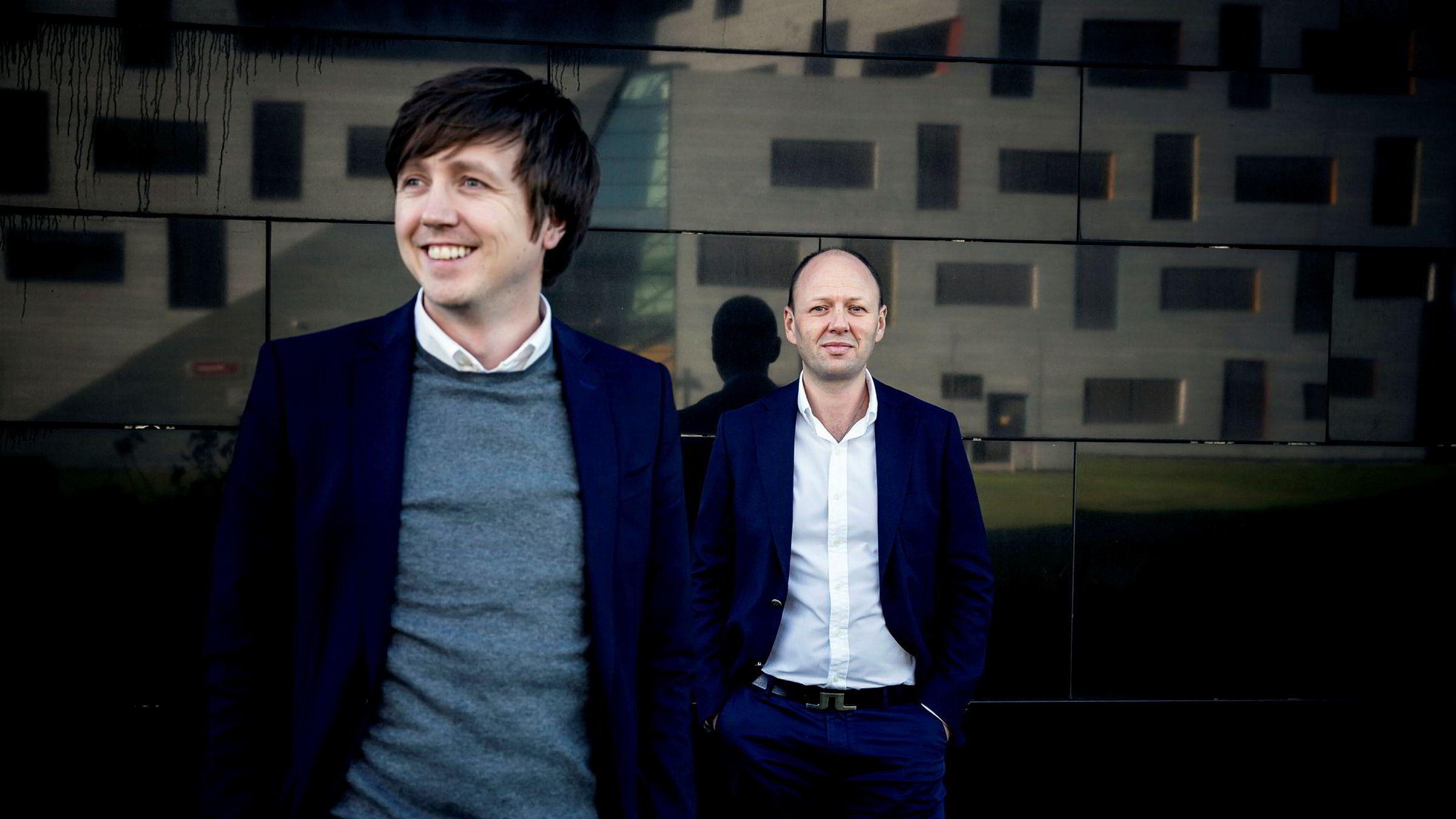 It-millionæren og Stavanger-mannen Fredrik Larsen (t.v.) satser tungt i hytte- og boligmarkedet. Her er han sammen med medgründer Jan Inge Pedersen i selskapet Wellit. 150 millioner hver fikk de to da de solgte 60 prosent av selskapet til Norvestor.