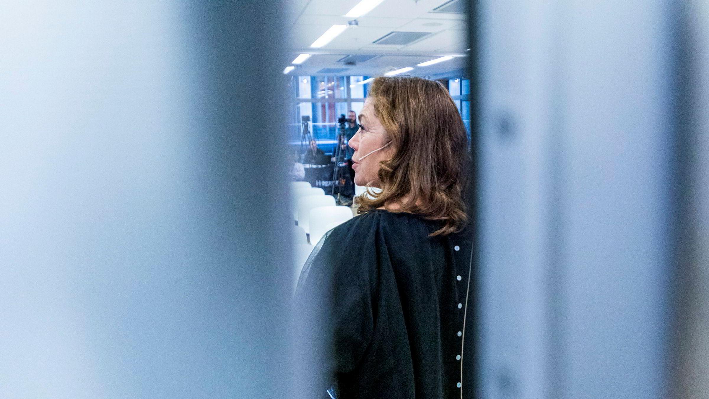 Konsernsjef Kristin Skogen Lund presenterte kvartalsresultatet for Schibsteds tredjekvartal fredag morgen.