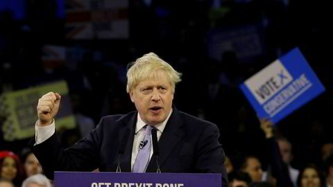 Statsminister Boris Johnson på De konservatives siste valgmøte på Copper Box Arena i London onsdag kveld.