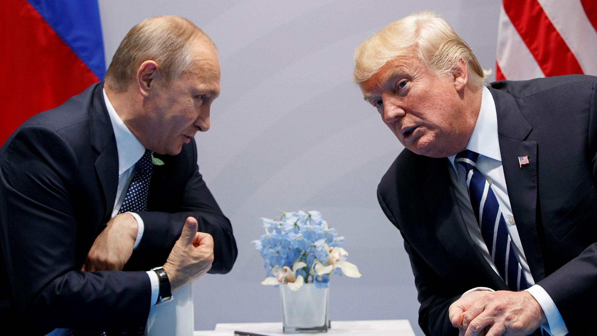 USAs president Donald Trump og Russlands president Vladimir Putin skal muligens møtes i Wien. Her fra G20-toppmøtet i Hamburg ifjor sommer.