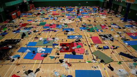 Senatet i USA har enstemmig vedtatt et lovforslag som støtter menneskerettigheter og demokrati i Hongkong. Bildet viser en gymsal på Universitetet i Hongkong som er brukt som sovesal av protesterende studenter.