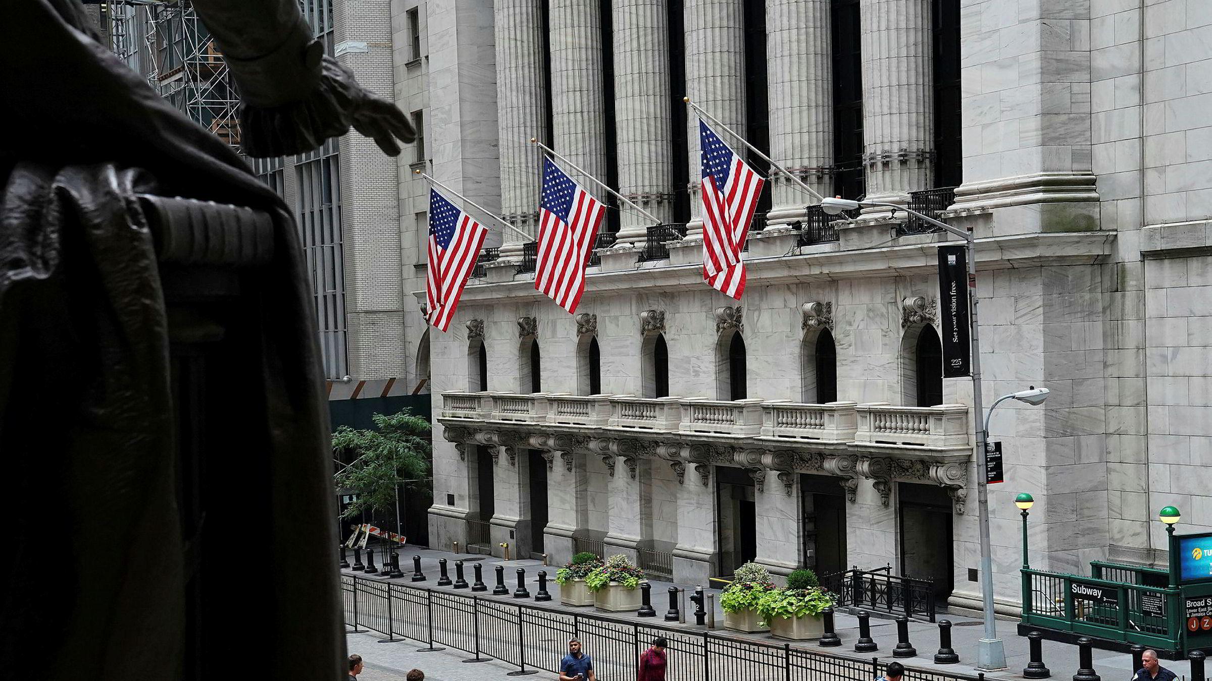 Aksjebørsen New York Stock Exchange på Wall Street i bydelen Manhattan i New York tidligere denne måneden.