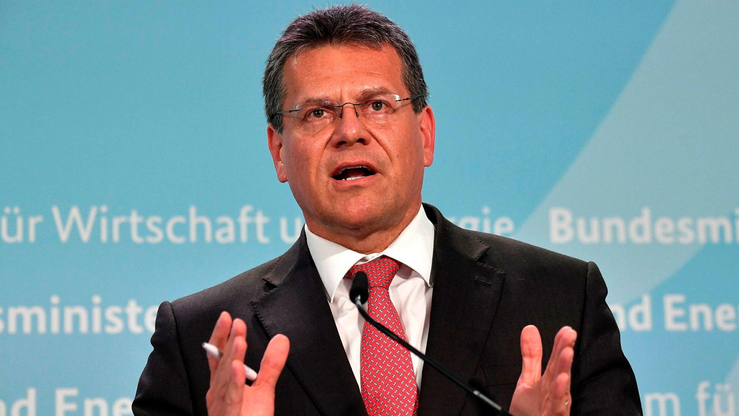 Europakommisjonens visepresident Maros Sefcovic varsler en omfattende liste med amerikanske varer som skal ilegges straffetoll.