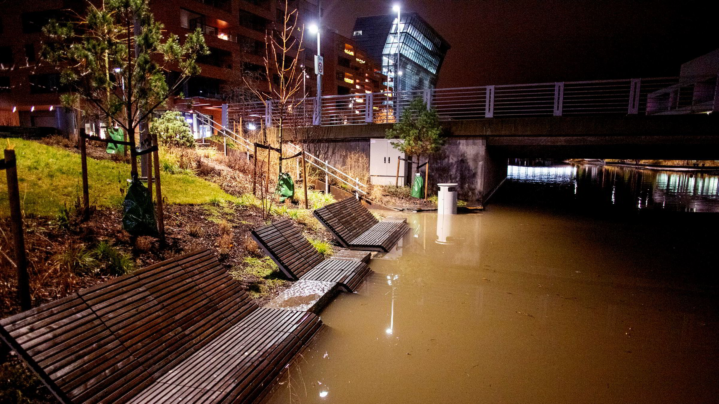 Slik var vannstanden i Oslo sentrum ved 04-tiden natt til onsdag.