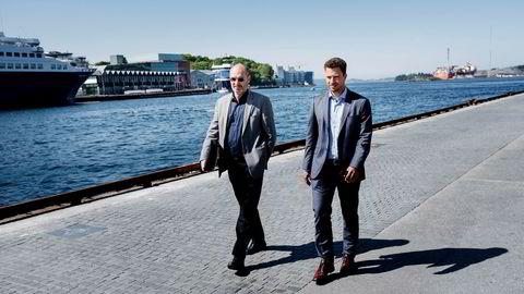 Administrerende direktør Jostein Aleksandersen i Neodrill (til venstre) forbereder seg på en rettslig batalje med Statoil. Her sammen med sin advokat Kyrre Tangen Andersen i Kluge advokatfirma.