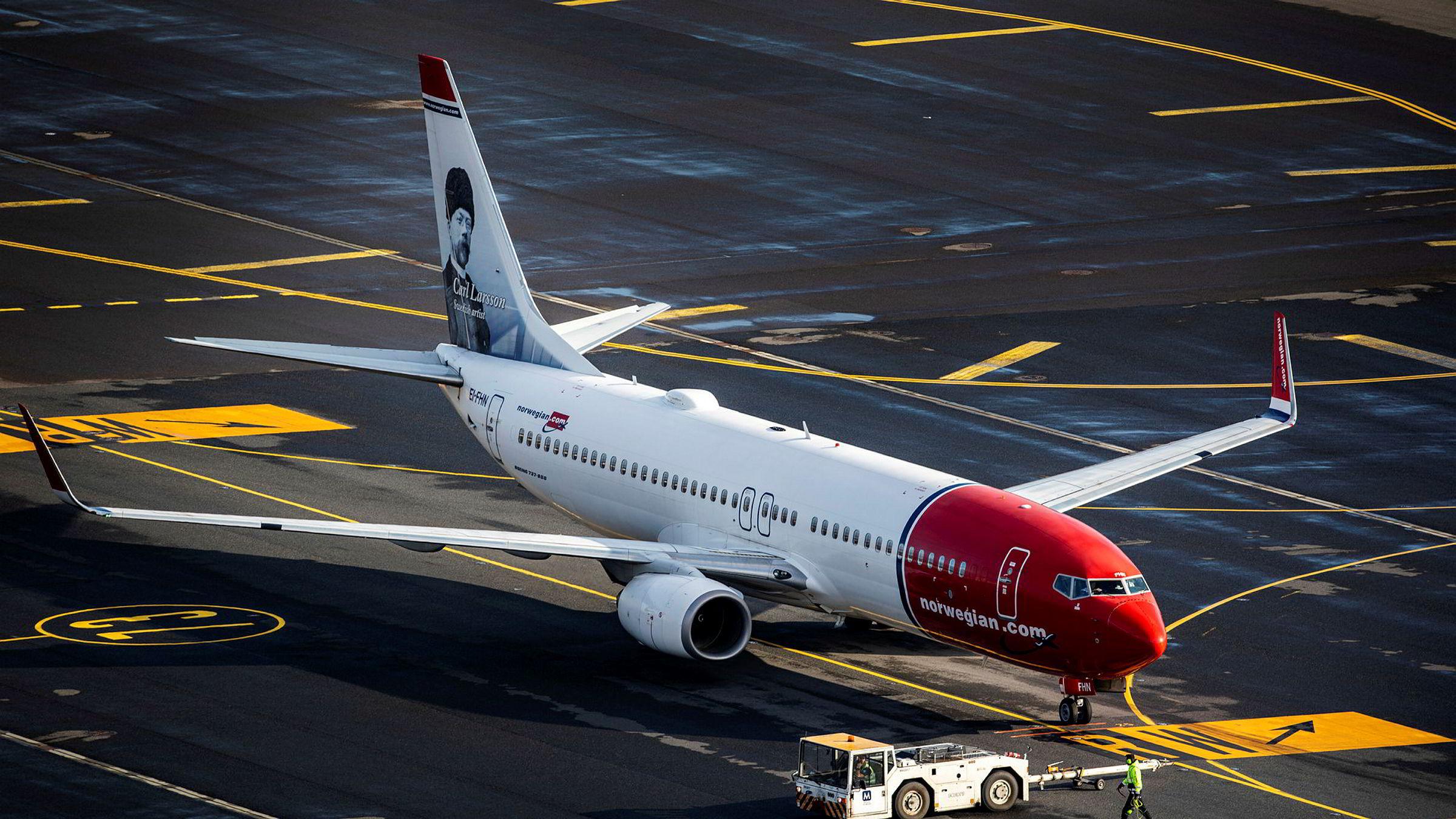 Et Norwegian fly på Oslo lufthavn.