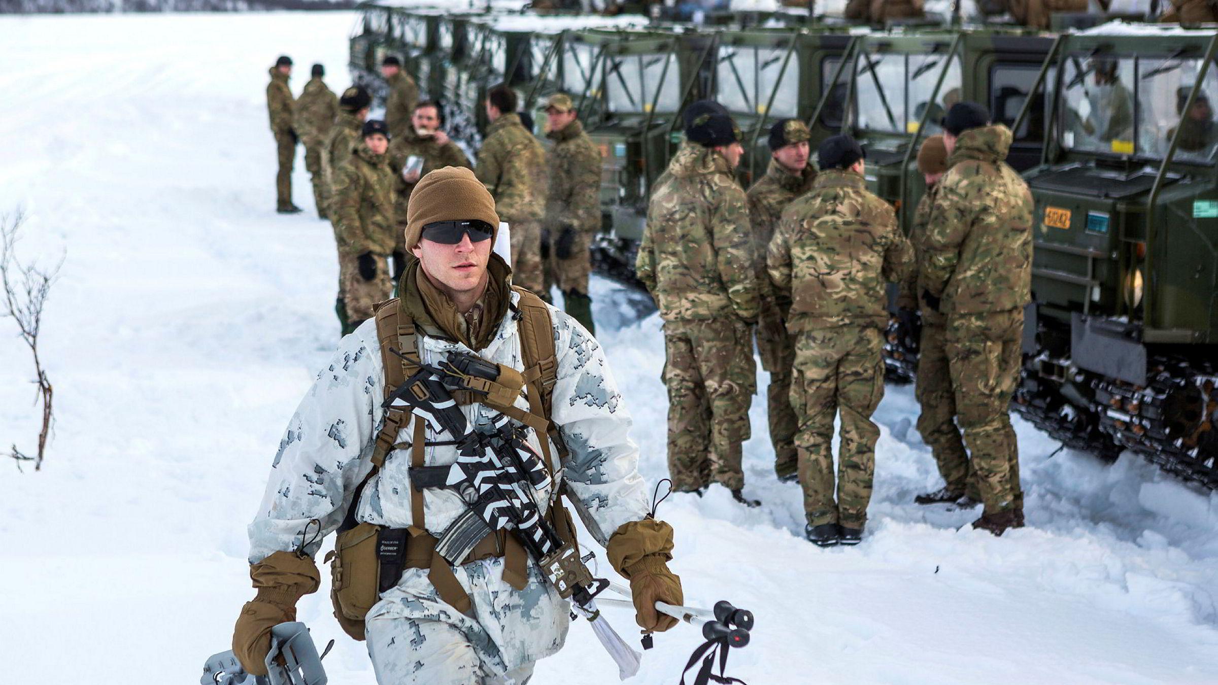 Amerikanske soldater trener blant annet i Finnmark, her på vinterøvelsen Joint Viking i 2017.